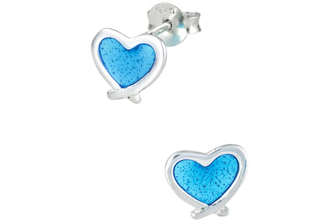 Sterling Silver Blue Heart Earrings