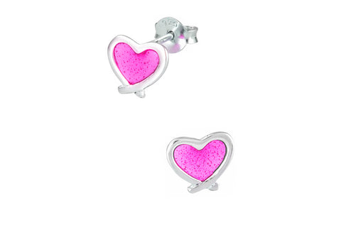 Sterling Silver Hot Pink Heart Stud Earrings