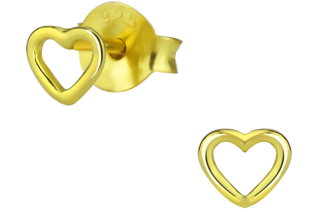 Sterling Silver 14k Gold Plated Heart Earrings