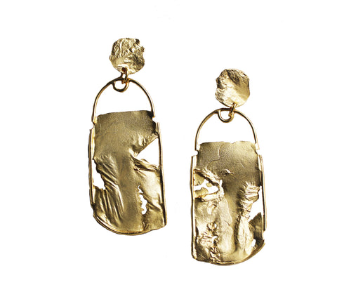 Two Clouds Above Nine  Rectangular Dangle Statement Earring