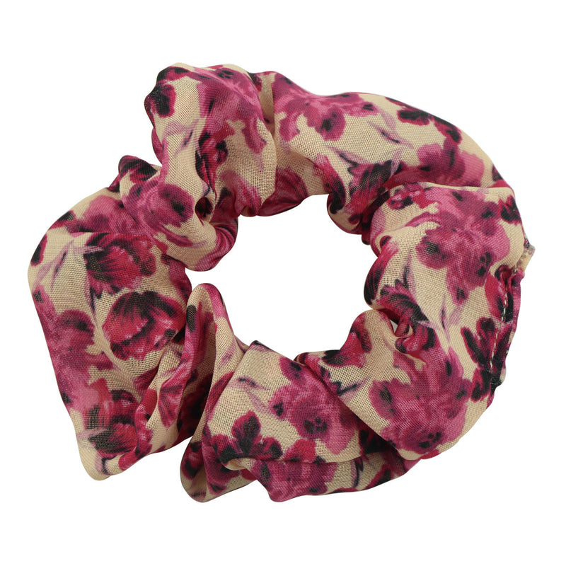 custom print floral dye sublimation chiffon bandana hair scrunchies  scrunchy elastic hairband wholesale at factory price 5621