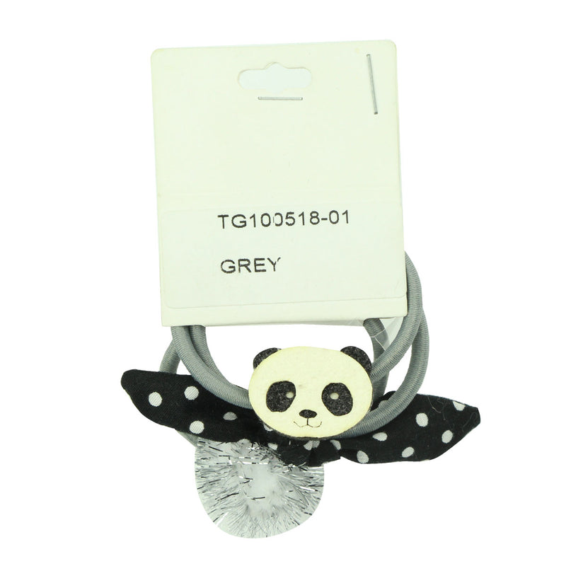 custom print polka dots fabric bow grey elastic hair band laser cut faux leather panda charm hair tie glitter pom girl ponytail hair holder kits 6560