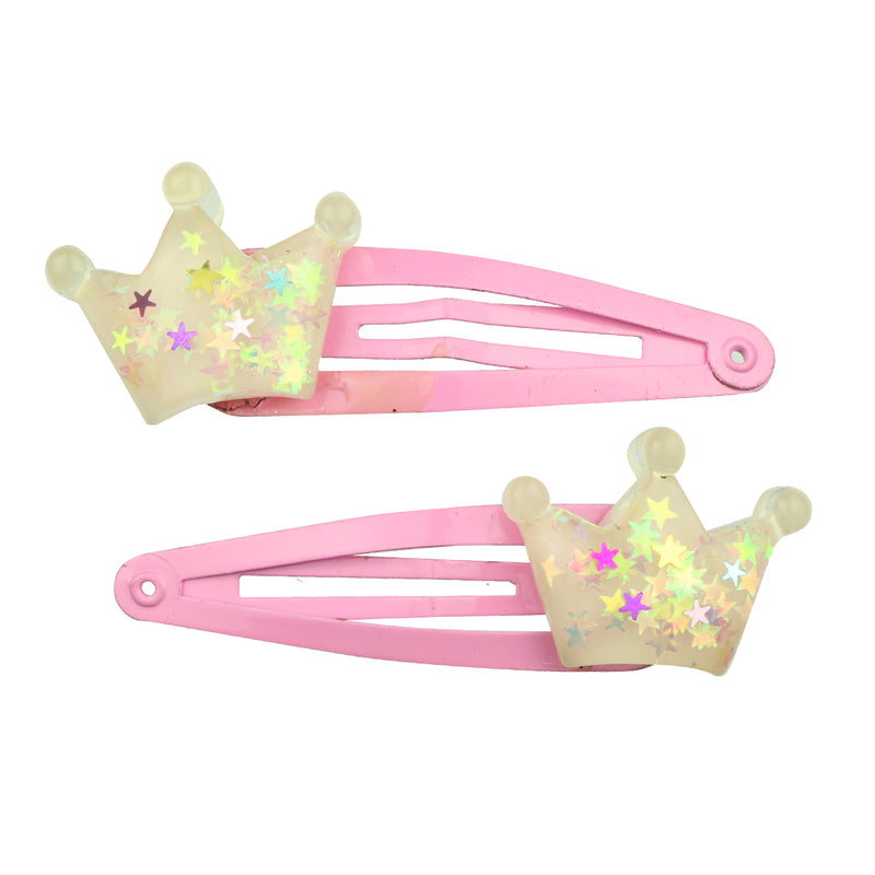 customized eco friendly poly resin crown glitter hair clip7701