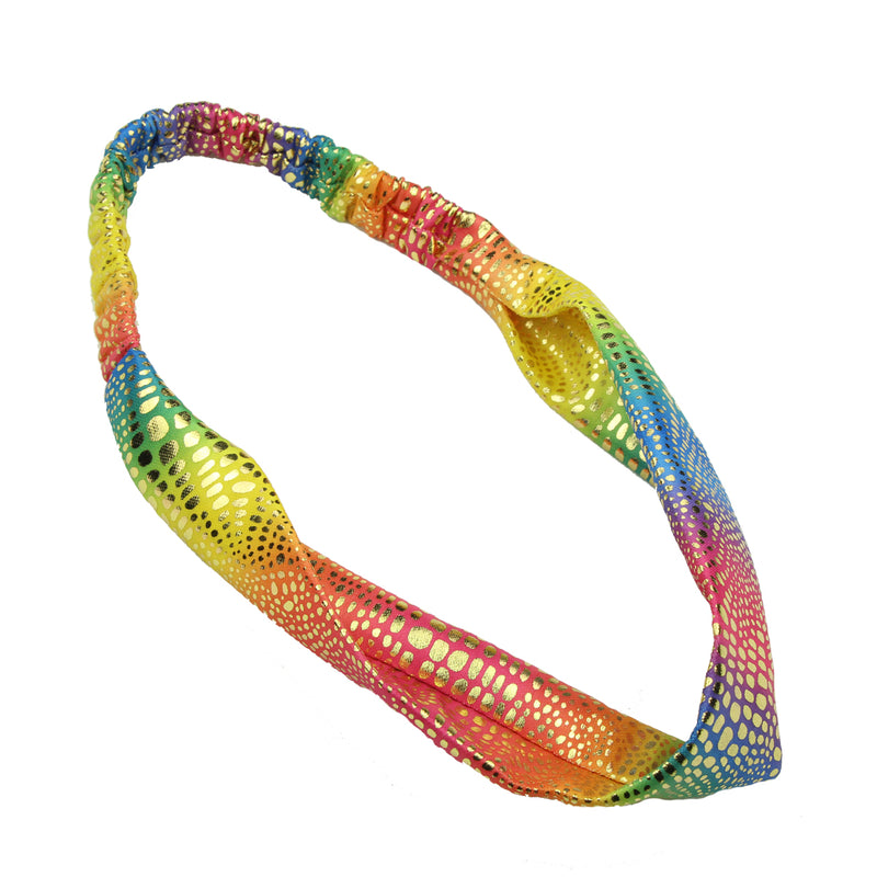 gold iron on wide fabric headband,rainbow fabric headband teenage,custom hair wraps7788