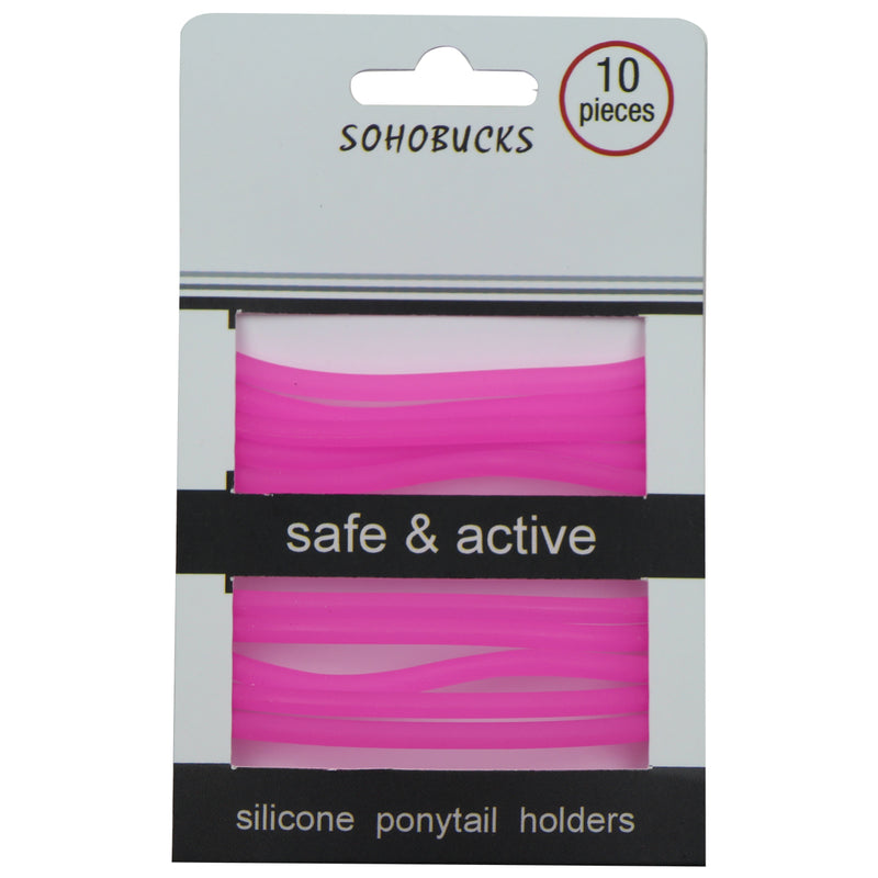 hot pink silicone rubber bracelet silicone glow in the dark translucent elastic hair band hair holder for girls at factory prices1066