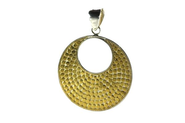 18K Gold Vermeil-Sterling Silver Bali Bola Round Pendant-Farsi Jewelers