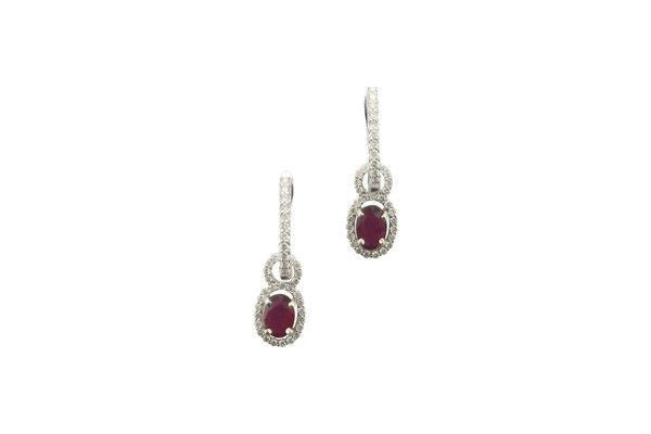 Oval Ruby Drop Earrings with Diamond Halo-Farsi Jewelers