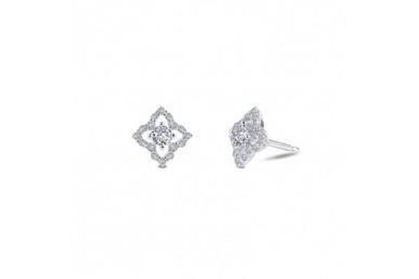 Silver Simulated Diamond Earrings-Farsi Jewelers