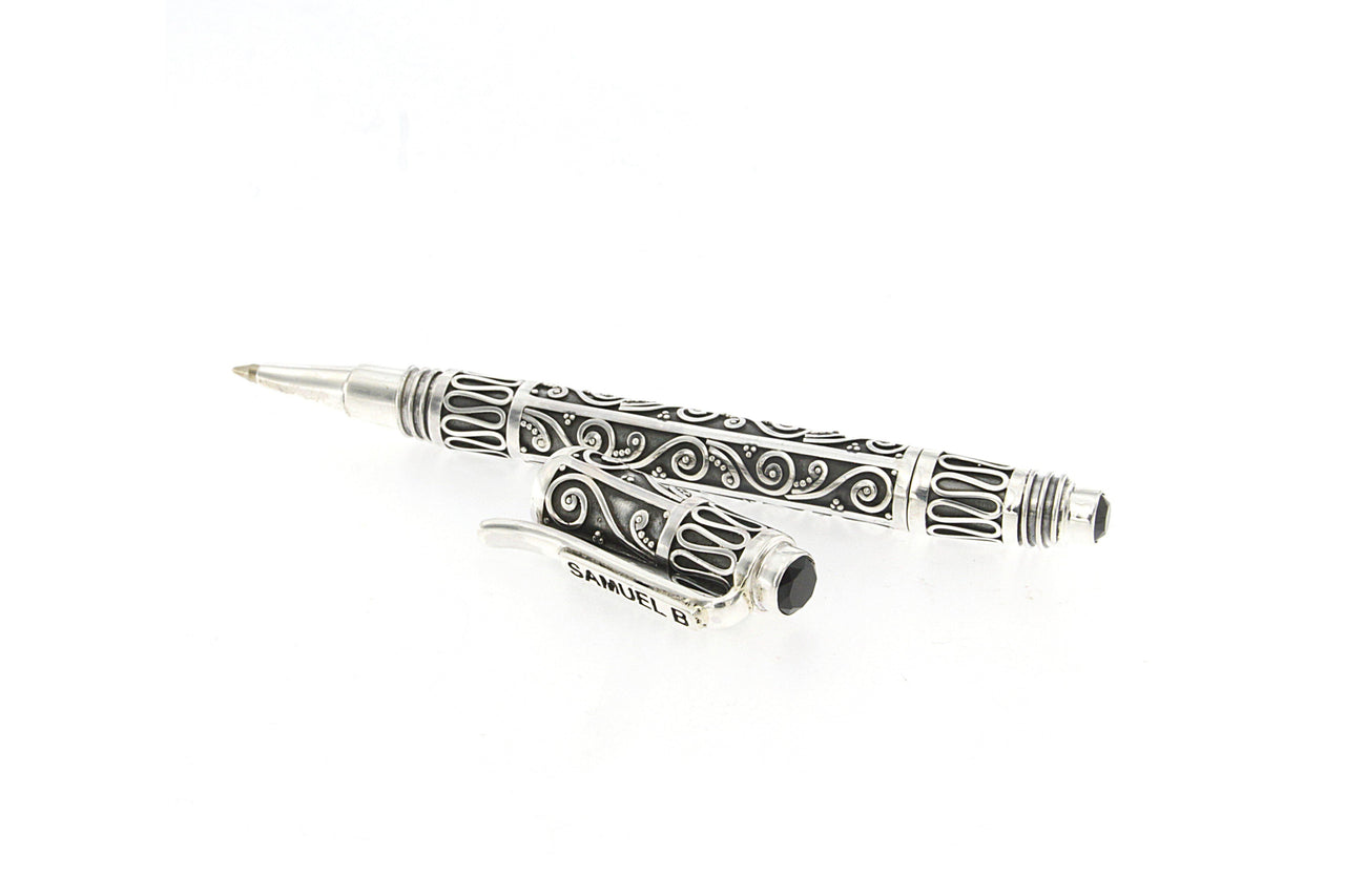 SS BALINESE DESIGN PEN WITH ONYX END CAPS-Farsi Jewelers