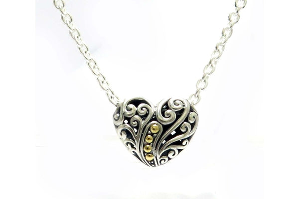"SS/18K 18"" BALINESE SWIRL DESIGN HEART NECKLACE (LARGE)-Farsi Jewelers"