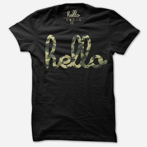 Hello Camo (Kids) Black Poly-Cotton Tee