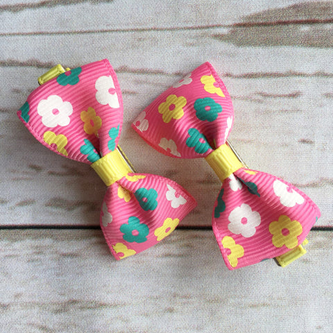 Baby Classic Bow Clips - Floral Pink