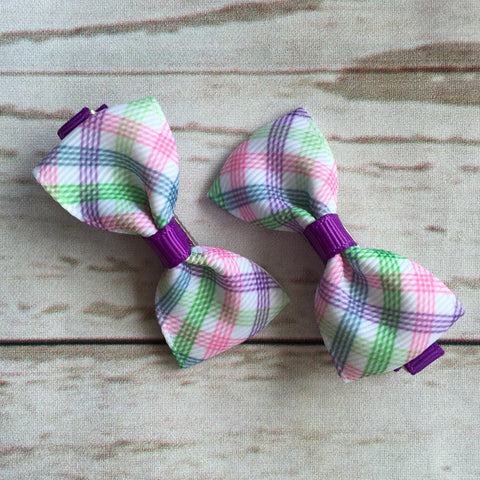 Baby Classic Bow Clips - Check Check