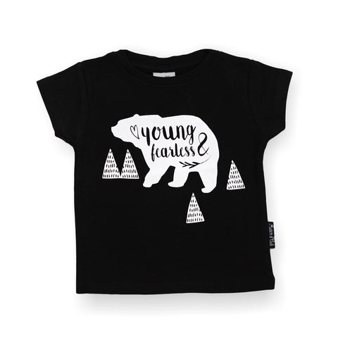 Organic Cotton T-Shirt 'Young & Fearless' Black