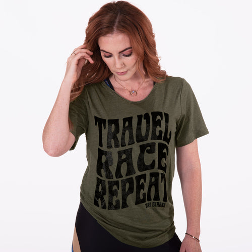 Women's Super Cool Raw Neck Boyfriend Tee - Olive and Black