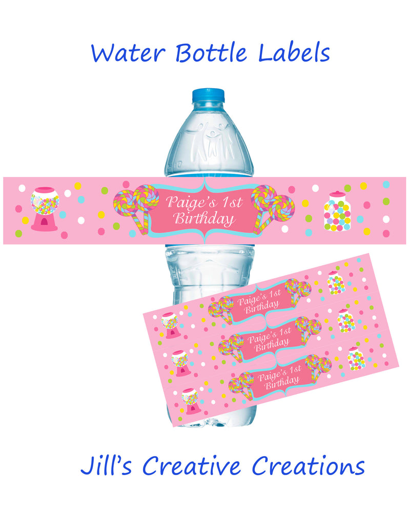Candy water bottle labels