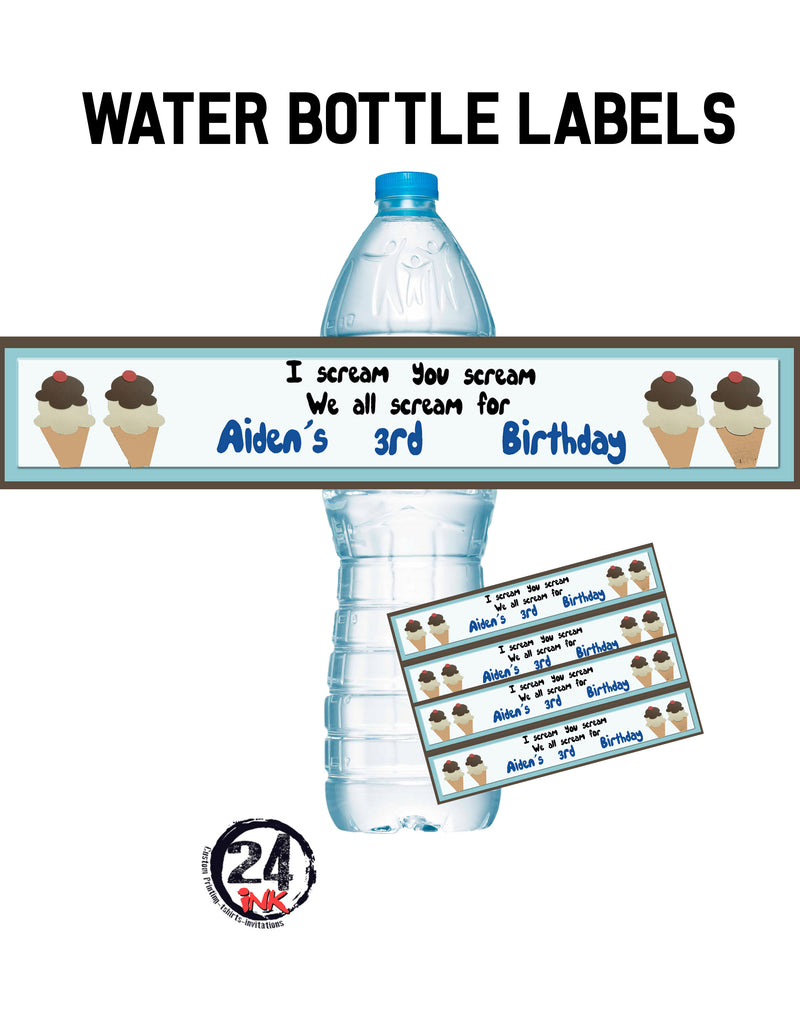 Ice Cream Water Bottle Labels