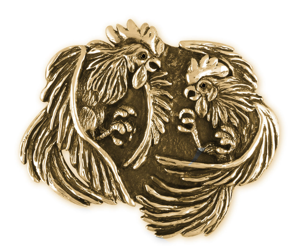 Fighting Roosters Charms Fighting Roosters Belt Buckle Hand Cast Yellow Bronze Mens Jewelry FIGHTING ROOSTERS jewelry