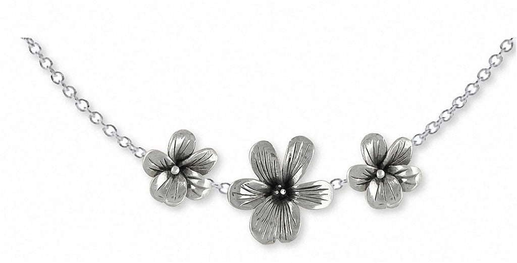Triple Violet Charms Triple Violet Necklace Sterling Silver Flower Jewelry Triple Violet jewelry