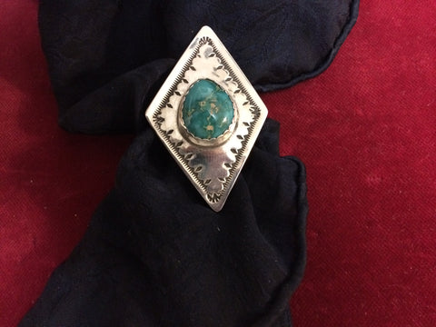 Scarf Slide/Wild Rag Slide: Sterling Diamond Shape with Fox Mine Turquoise