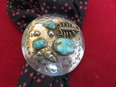"Scarf Slide: 2 3/4"" Sterling with Turquoise & Scorpian motif"