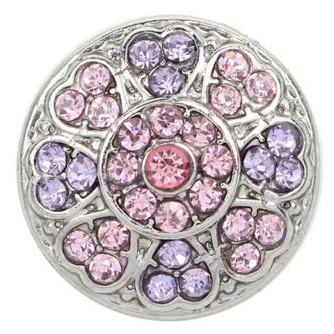 Diva Dot Snap Button, Decorative Pink and Light Purple Crystal