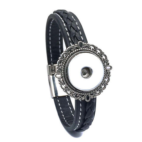 Bracelet, Genuine Leather w/ Braided Detail and White Stitching