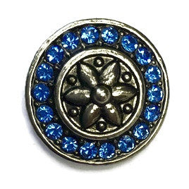 Diva Dot Snap Button, Flower Surrounded by Blue Crystals