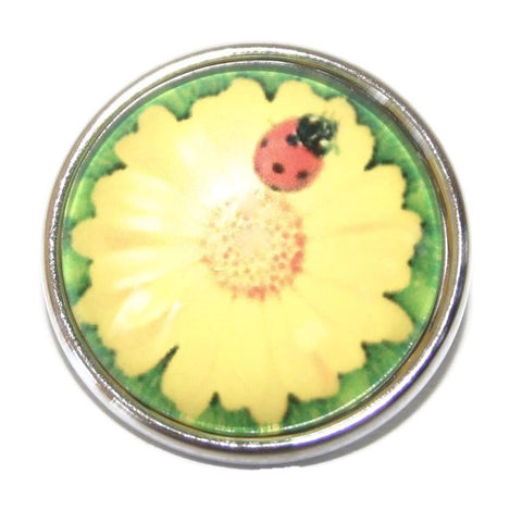 Diva Dot, Yellow Flower with Lady Bug, Glass