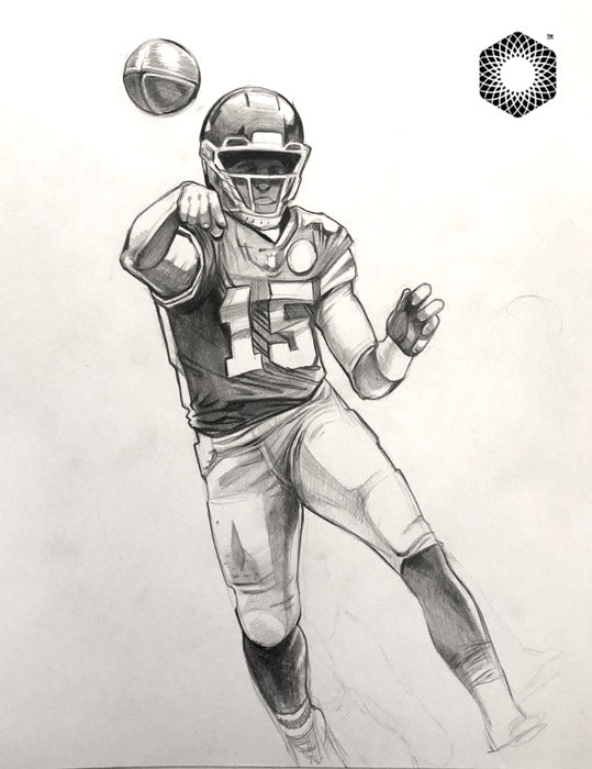 CS002: Patrick Mahomes Pencil 1 of 1 Sketch (Framed After Purchase)