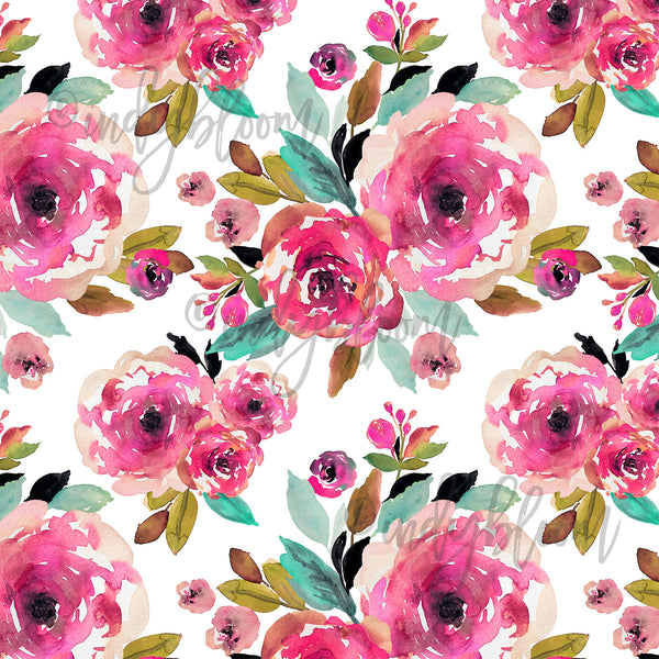 Watercolor Florals | Roselynn Floral in Magenta on White - aferpay
