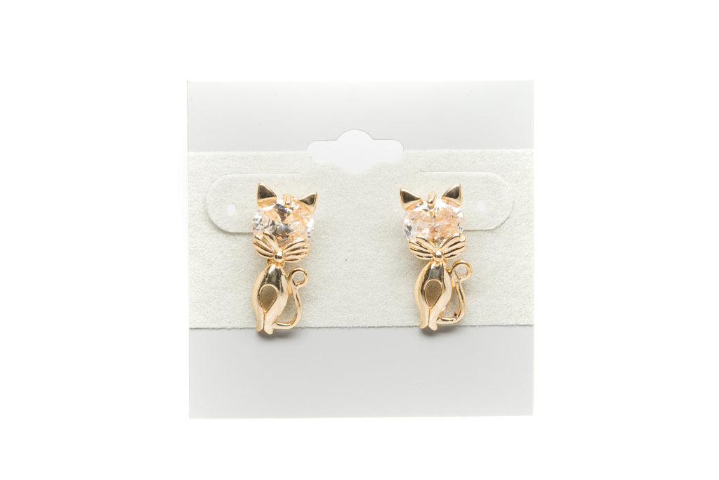 Cat with Cubic Zirconia Fashion Earrings - Orti Jewelry