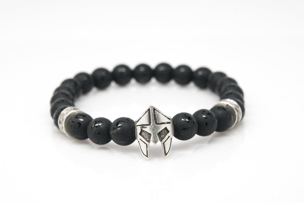 Black Onyx Unisex Beaded Bracelet with Gladiator Helmet Charm - Orti Jewelry