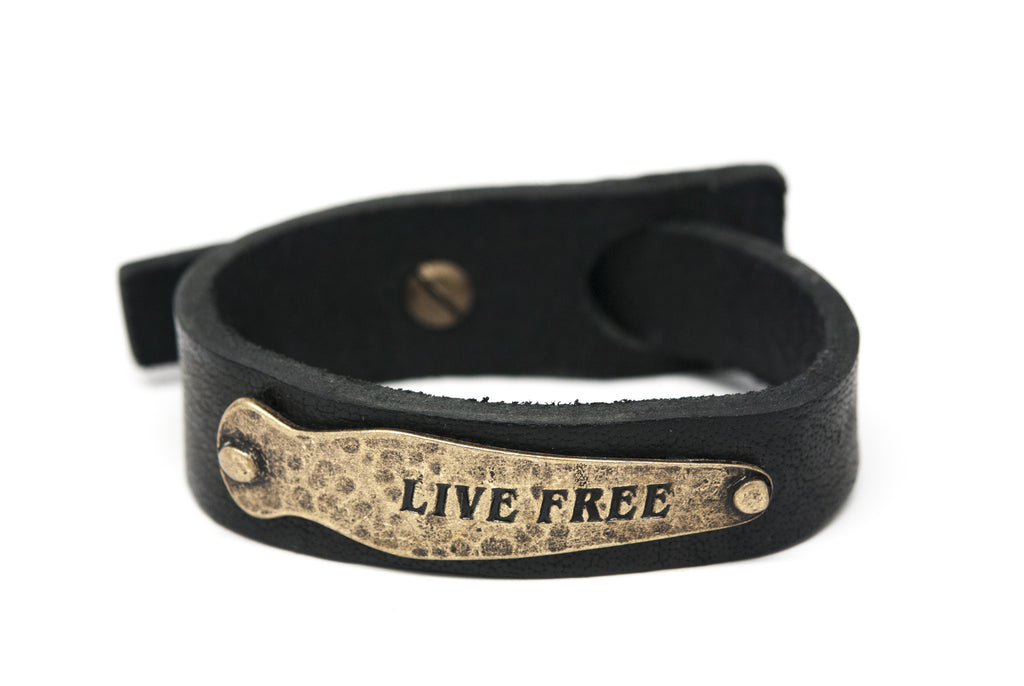 LIVE FREE Black Leather Unisex Strap Bracelet - Orti Jewelry