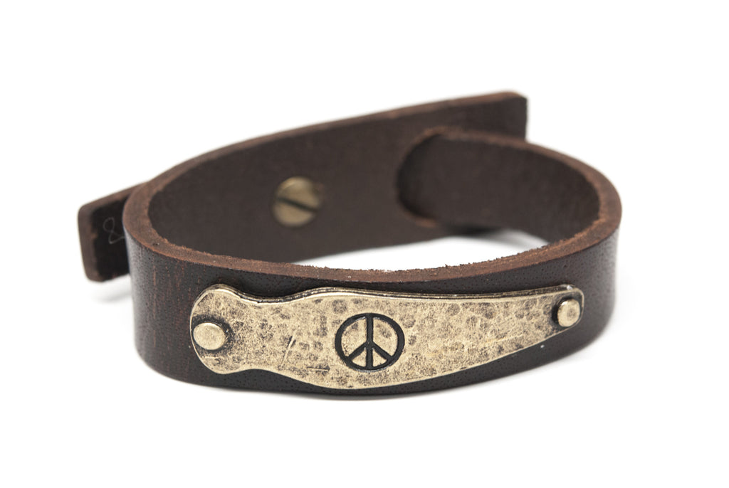 PEACE Brown Leather Unisex Strap Bracelet - Orti Jewelry