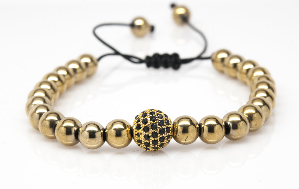 Gold Sphere Hematite Gemstone Bracelet - Orti Jewelry