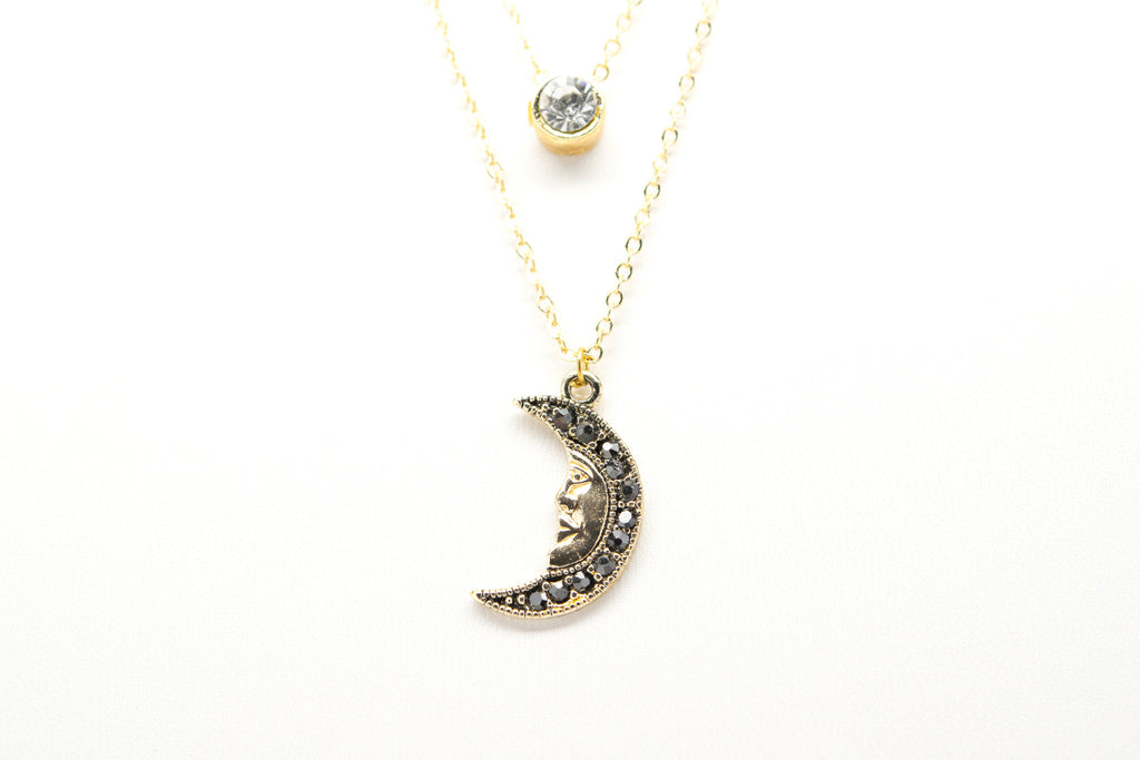 Crescent New Moon with Face Gold Plated Double Necklace with Cubic Zirconia - Orti Jewelry