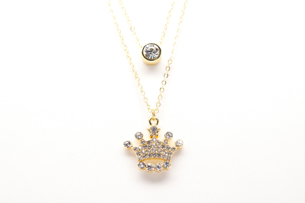 Crown Gold Plated Double Necklace with Cubic Zirconia - Orti Jewelry