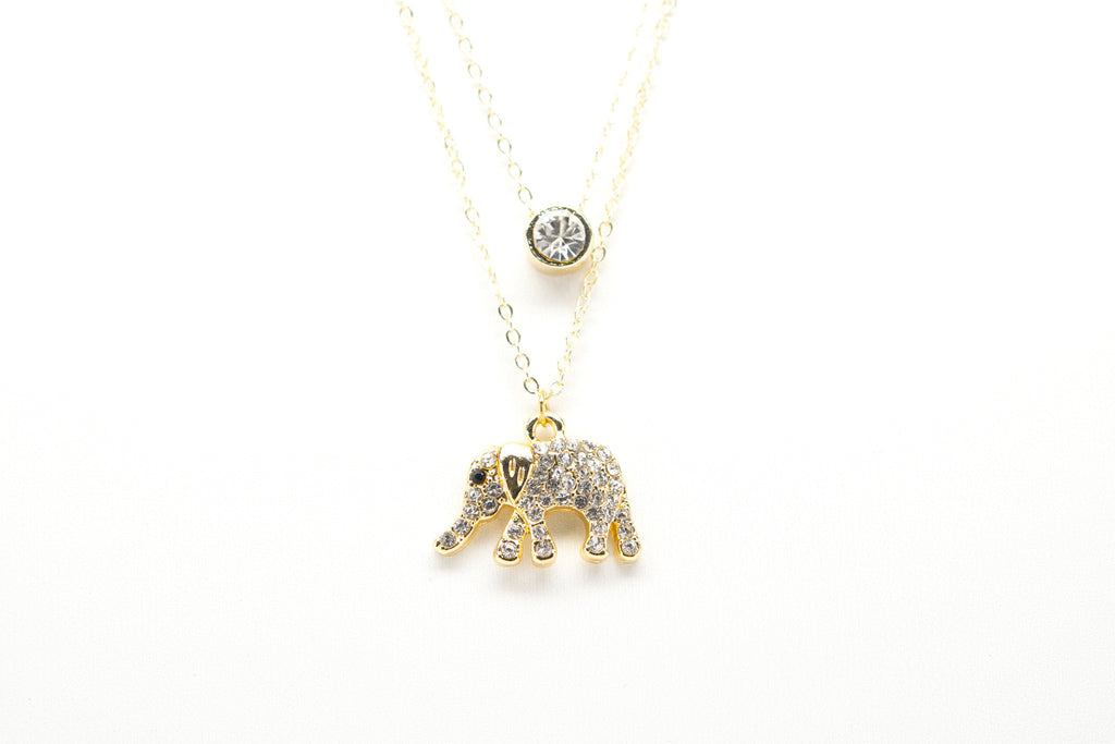 Elephant Gold Plated Double Necklace with Cubic Zirconia - Orti Jewelry