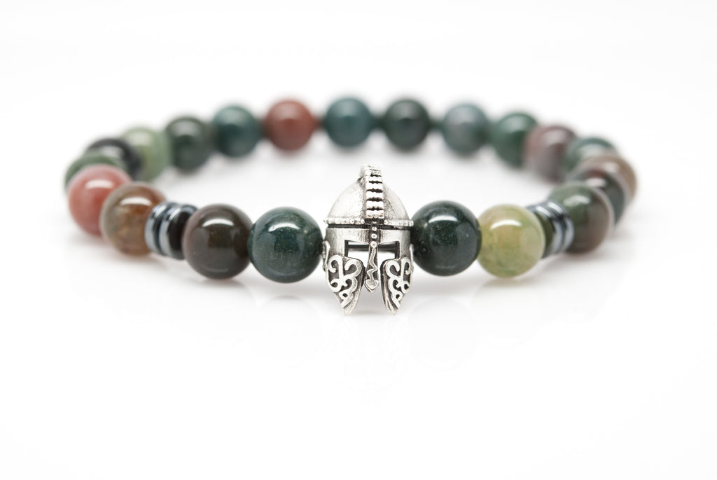 Agate Unisex Beaded Bracelet with Gladiator Helmet Charm - Orti Jewelry
