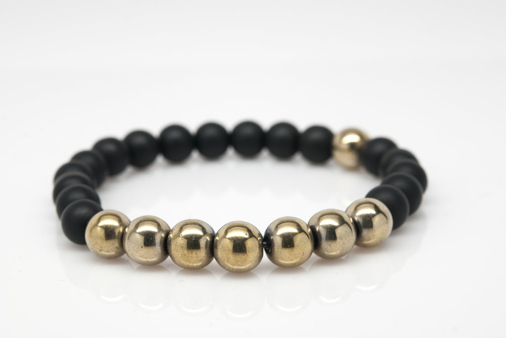 Hematite and Black Onyx Unisex Beaded Bracelet - Orti Jewelry