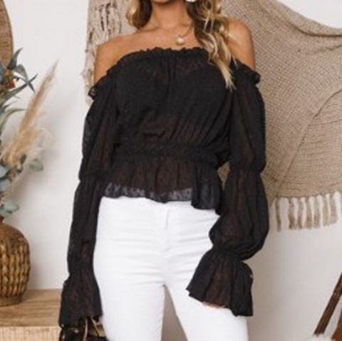 Black Long Sleeve Chiffon Top