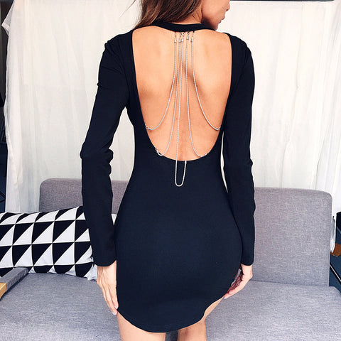 Chain Backless Long Sleeve Hip Dress