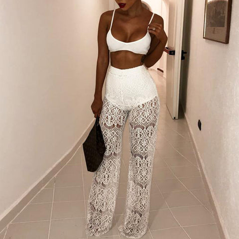 Sexy High Waist Lace Perspective Pants