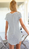 Sexy striped short-sleeved dress