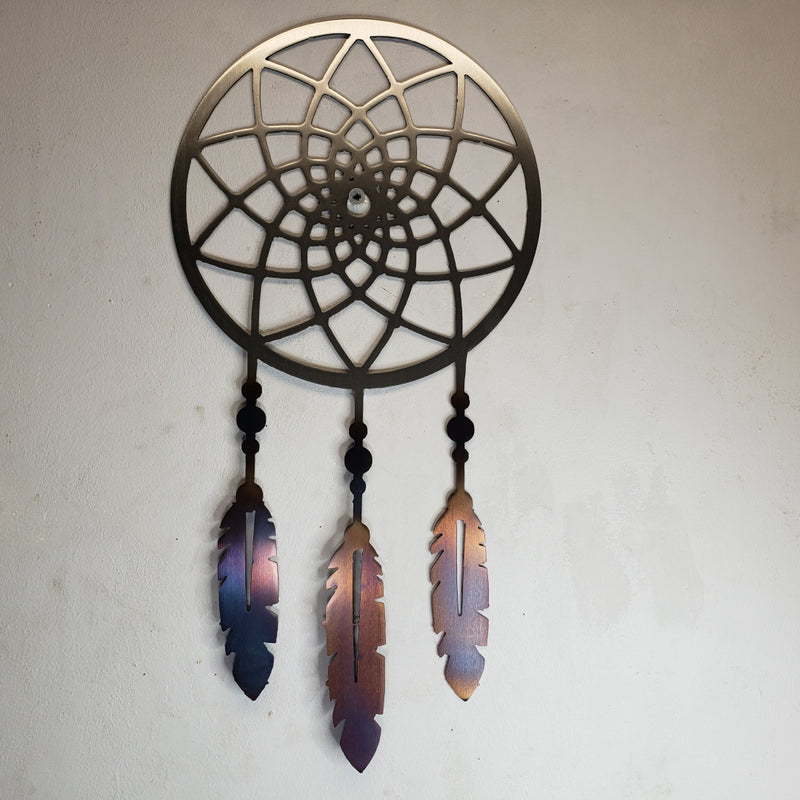 Dream Catcher with Heat Treated Feathers