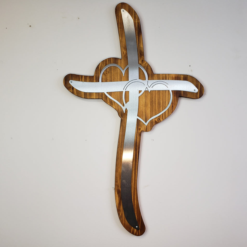 Double Heart Steel Cross Mounted on Burnt and Hand Oiled Pine