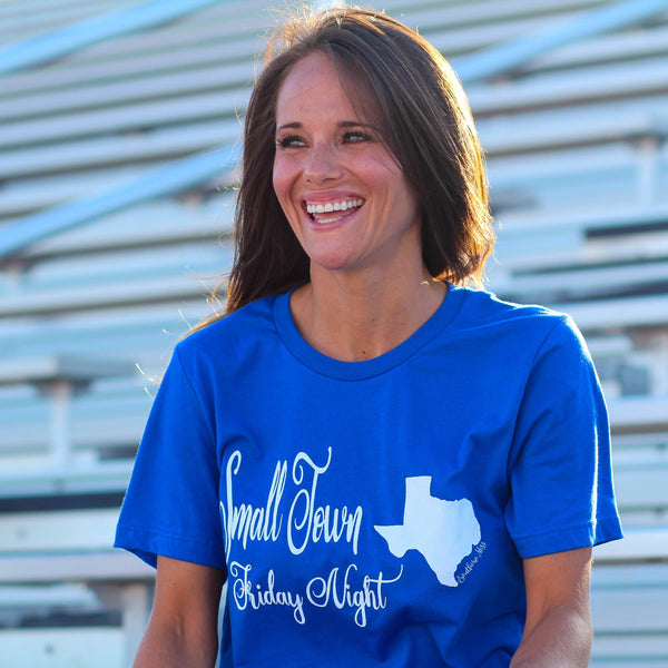 Game Day Graphic Tee - Small Town Friday Night Texas Royal Blue