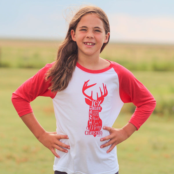 Graphic Long Sleeve - Youth Christmas Reindeer Raglan