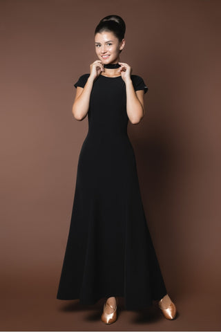 classic black ladies ballroom dance dress from dancewear for you australia
